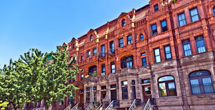 Harlem district and its typical house, New York. Stock Image