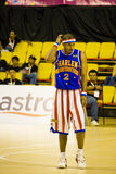 Harlem Globetrotters Basketball - General Grant. Image of General Grant of the world famous Harlem Globetrotters basketball posing during the break in their Stock Photos