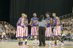 Harlem Globetrotters basketball team in an exhibit. The world famous Harlem Globetrotters basketball team in an exhibition match against Washington Generals at Royalty Free Stock Photos