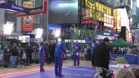 Harlem Globetrotters on Times Square stock video footage