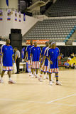 Harlem Globetrotters World Tour. Image of the world famous Harlem Globetrotters basketball team warming up for an exhibition match against Washington Generals Stock Photography