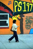 Harlem graffiti. Mural graffiti designed, painted and sponsored by Harlem Children's Zone and General Electric in 2003 Stock Photos