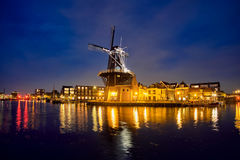 Harlem landmark  windmill De Adriaan on Spaarne river. Harlem, Royalty Free Stock Image