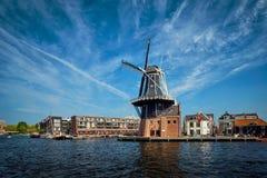 Harlem landmark windmill De Adriaan on Spaarne river. Harlem, Stock Image