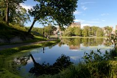 Harlem Meer in Central Park. Royalty Free Stock Images