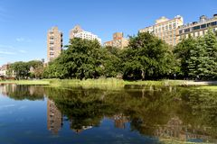 Harlem Meer in Central Park. Royalty Free Stock Photos