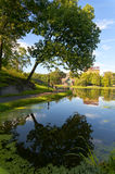 Harlem Meer in Central Park. A single tree near the Harlem Meer's edge can be seen reflected with the Dana Discovery Center in the distance Royalty Free Stock Images