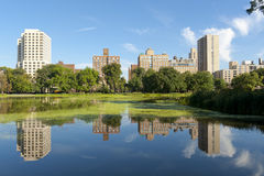 Harlem Meer in Central Park. Reflections, Trees and Buildings are what's in store at the Harlem Meer Royalty Free Stock Photos