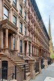 Harlem rödbruna sandstenar - New York City Arkivbilder