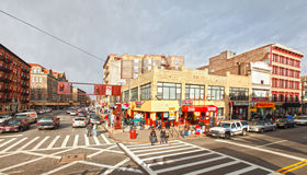 Harlem street scene. Busy Harlem street scene at busy crosswalk intersection.  February 2012 Stock Photography