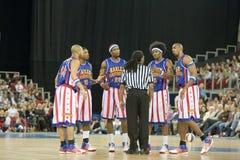 Harlemglobetrotters-Basketball-Team in einer Ausstellung Lizenzfreie Stockfotos
