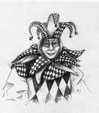 Harlequin. Portrait of a macquerade harlequin wearing smiling mask and checkred costume with little bells on the hat. Pencil drawing, sketch Royalty Free Stock Photos