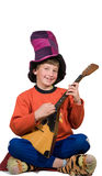 Harlequin with balalaika Stock Photo