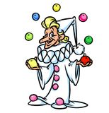 Harlequin clown juggler cartoon illustration Stock Photography