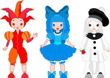 Harlequin, Columbina, Pierrot Royalty Free Stock Photos