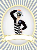 Harlequin Dancer posing blank product label bright Royalty Free Stock Photo