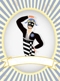 Harlequin Dancer posing blank product label oval Royalty Free Stock Photo