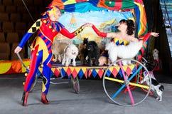 Harlequin et Colombina dans l'amour Image stock