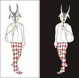 Harlequin with goat mask. Sketch of harlequin in white shirt and bright tricot with goat mask on black or white background Stock Images