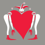 Harlequin with  heart on a gray background Royalty Free Stock Image