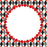 Harlequin Hearts Art Background, Frame Stock Photo