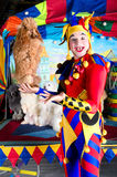 Harlequin holding a poodle royalty free stock photography