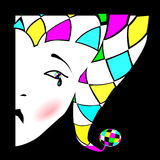 Harlequin. Image of sad Harlequin with a tear Stock Photography