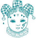 Harlequin Mask. One-color drawing of an harlequin, venetian style mask Stock Photography