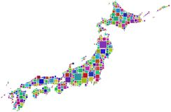 Harlequin mosaic of Japan  Stock Photography
