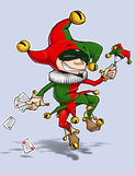 Harlequin Red green dances with Cards & Marionette Royalty Free Stock Images