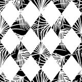 Harlequin rhombs and palm leaves seamless vector pattern. Stock Photography