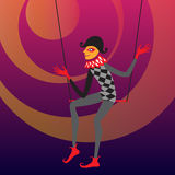 Harlequin sitting on a trapeze. Vector illustration Royalty Free Stock Photography