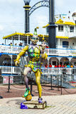 Harlequin statue - Jester figure in the port of New Orleans Stock Photos