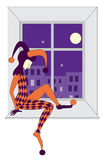 harlequin triste che dorme sul windowsill Fotografia Stock Libera da Diritti