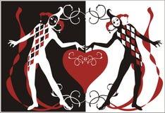 Harlequins con el corazón stock de ilustración