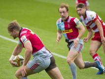 The Harlequins and Gloucester Rugby Rugby 7 S. Premiership Series at Northampton Franklins Garden royalty free stock photo