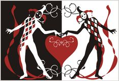 Harlequins with heart stock illustration