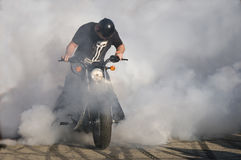 Harley burning tire Royalty Free Stock Photo