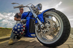 Harley chopper speed american power fast Royalty Free Stock Photography