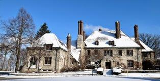 Harley Clarke Mansion coberto de neve imagem de stock royalty free