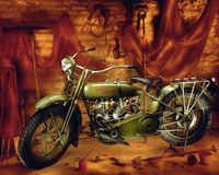 Harley Davidson摩托车-葡萄酒1910年 免版税库存照片