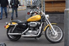 Harley Davidson bike. Landscape photo of a yellow Harley Davidson bike Stock Photography