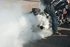 Harley Davidson brännskada royaltyfria foton