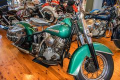 1949 Harley Davidson El Panhead Solo motorcycle at Motorclassica. Motorclassica is Australasia's premier event for vintage, classic and exotic motoring stock photo