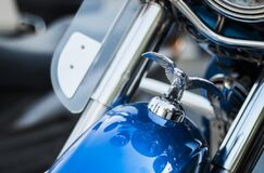 Harley Davidson Emblem on Top Front of Blue Motorcycle Royalty Free Stock Images