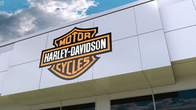 Harley-Davidson, Inc. logo on the modern building facade. Editorial 3D rendering. Harley-Davidson, Inc. logo on the modern building facade. Editorial 3D Royalty Free Stock Image