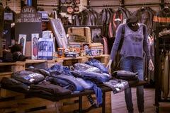 Harley Davidson-kleding en bijkomende presentatie stock foto