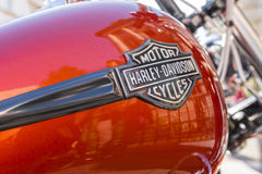 Harley Davidson logo. Is displayed on a motorcycles fuel tank on June 06, 2015 in Bucharest, Romania royalty free stock photos