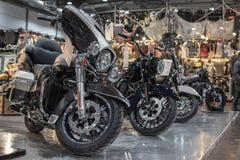 Harley Davidson motocykl, siekacz, chromujący przeciw innym motocyklom obraz stock
