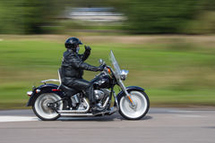 Harley Davidson Motor Bike Rider. In the August Thunder in the Glens ride out in Scotland from Aviemore to Grantown on Spey royalty free stock image